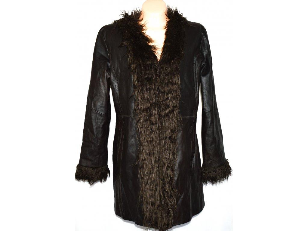 KOŽENÝ dámský měkký hnědý kabát s kožíškem XXL