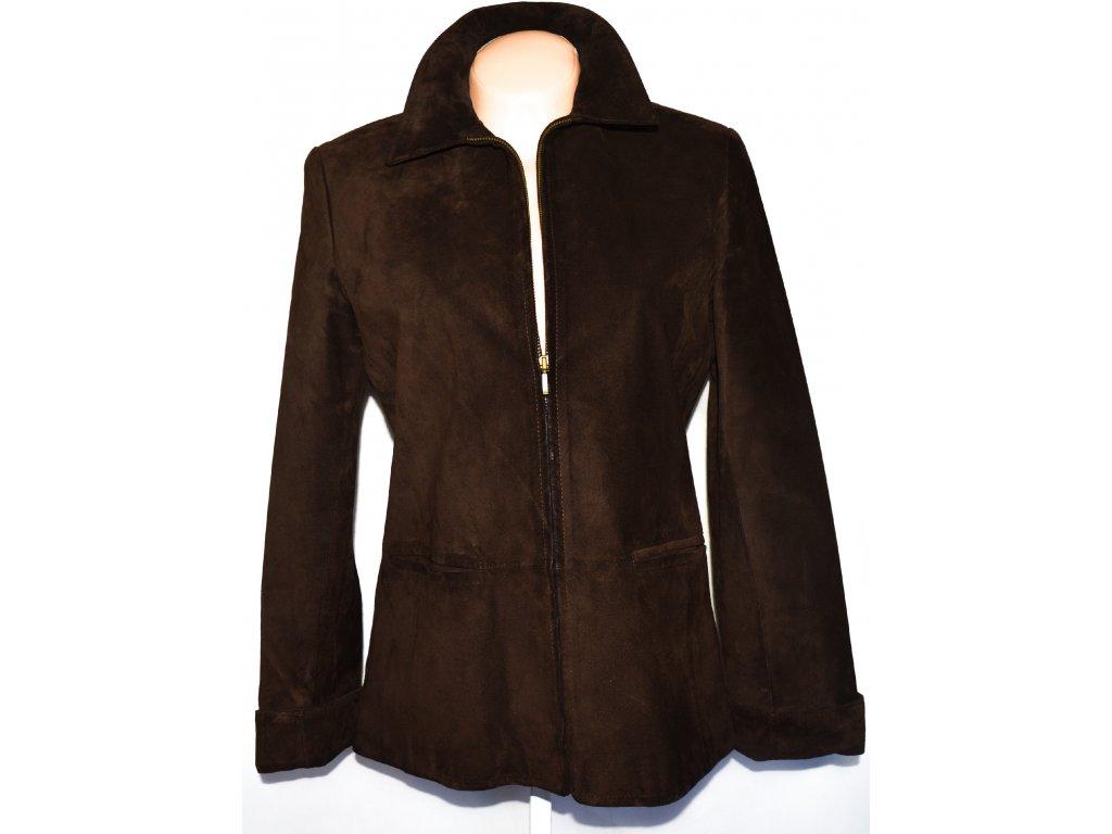 KOŽENÁ dámská broušená hnědá bunda na zip Marks&Spencer