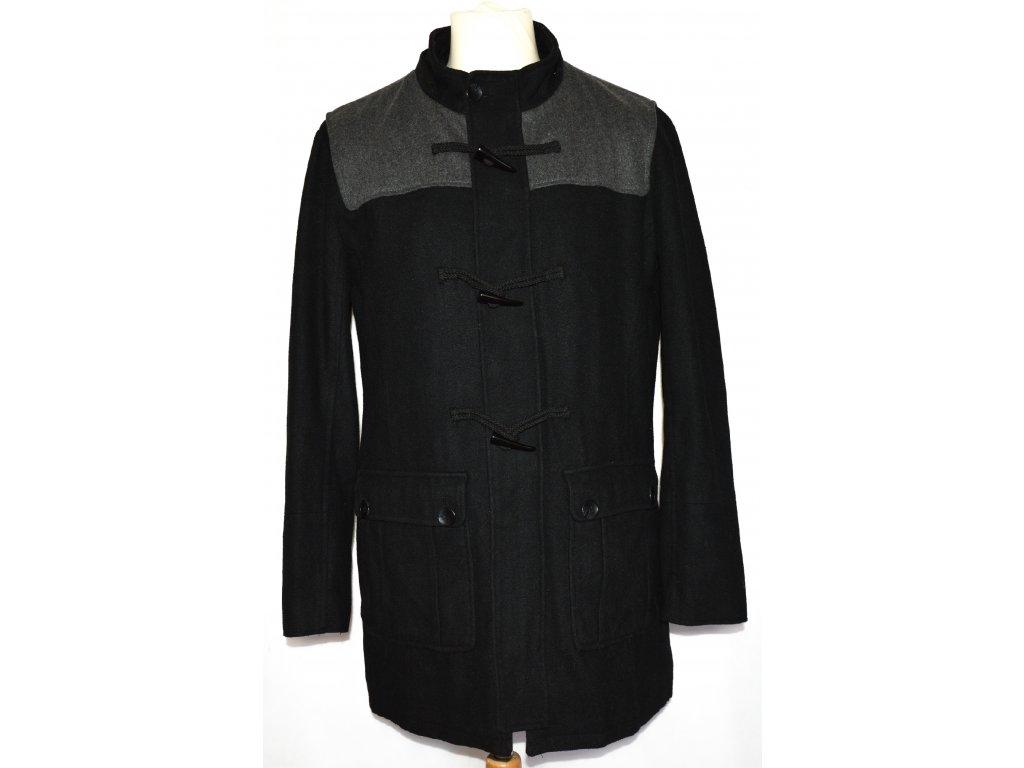 Vlněný pánský černý kabát na zip, vidlice OFFICERS CLUB M