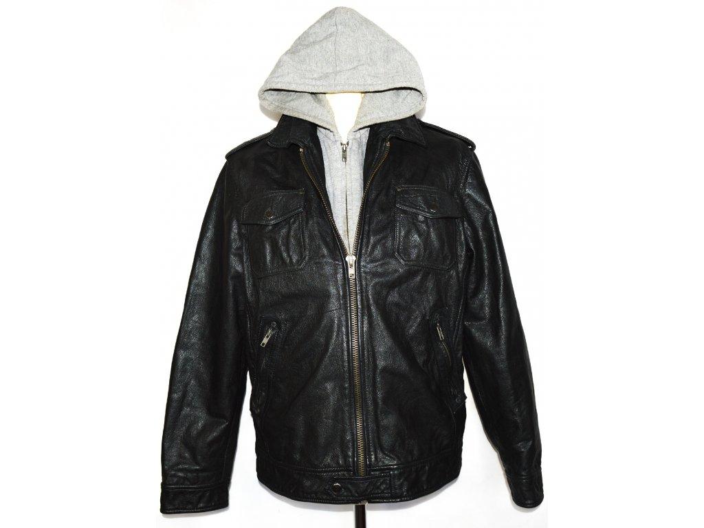 KOŽENÁ pánská černá bunda na zip RIVER ISLAND L