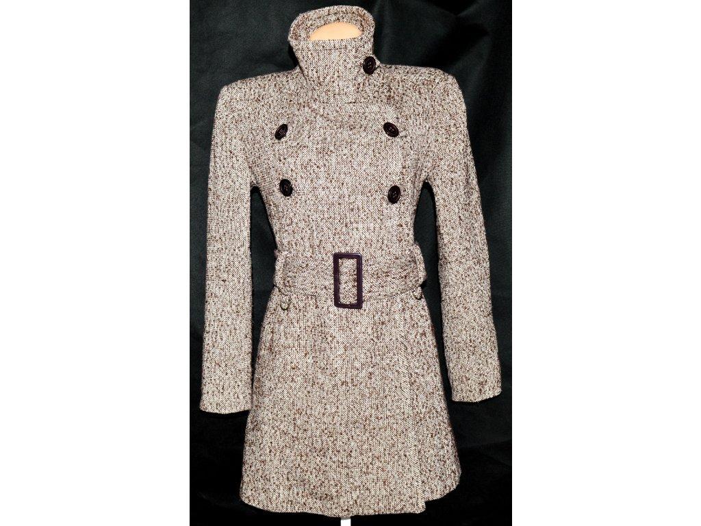 Vlněný dámský hnědobílý kabát s páskem L