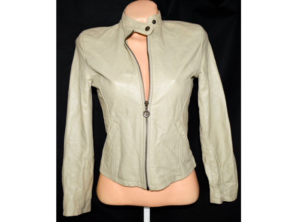 KOŽENÁ dámská měkká krémová bunda na zip AMI LONDON S