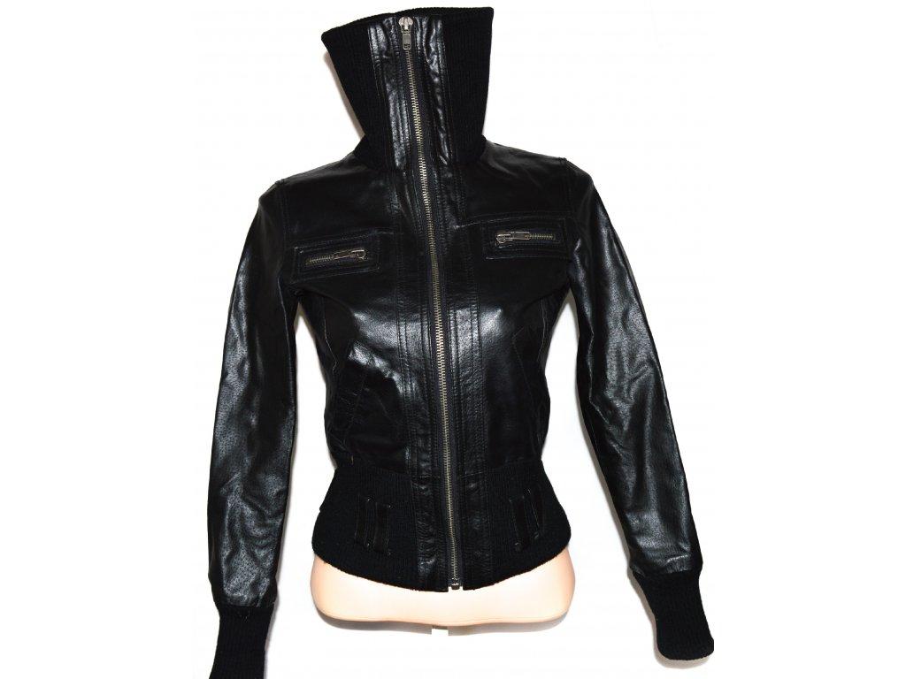 KOŽENÁ dámská černá bunda na zip NEW LOOK M 4c392488234