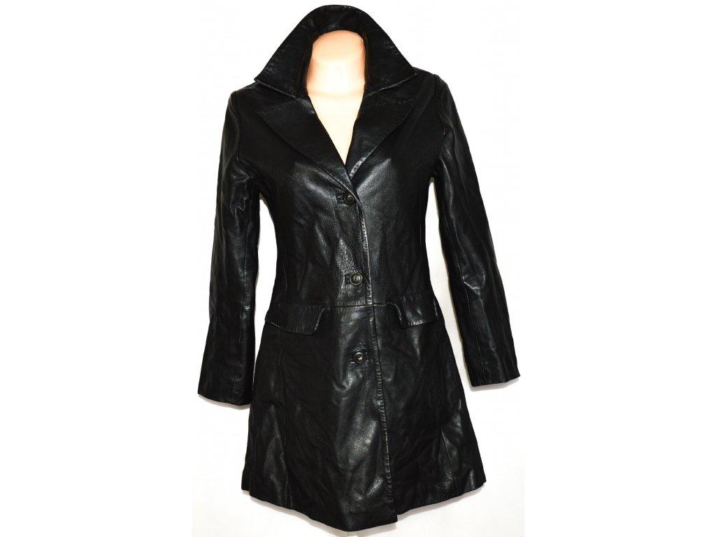 KOŽENÝ dámský měkký černý kabát MAROON M