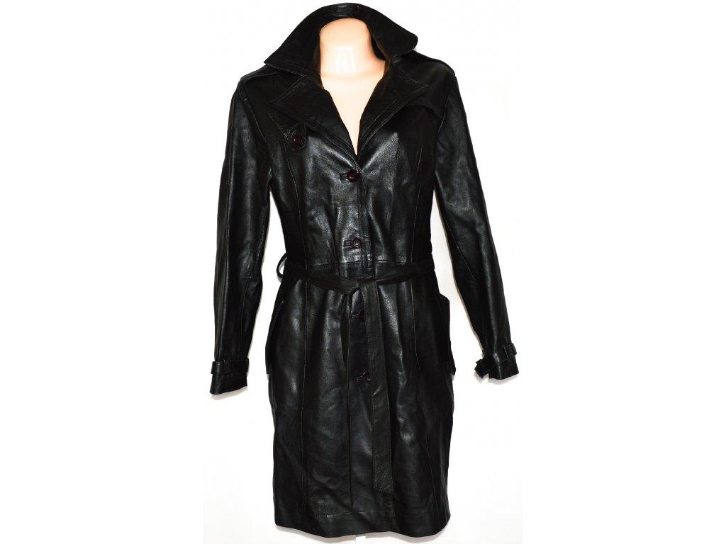 KOŽENÝ dámský měkký černý kabát s páskem NOBLE CLASSIC XL