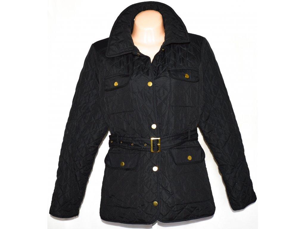 Dámský černý šusťákový prošívaný kabát s páskem David Barry XXL