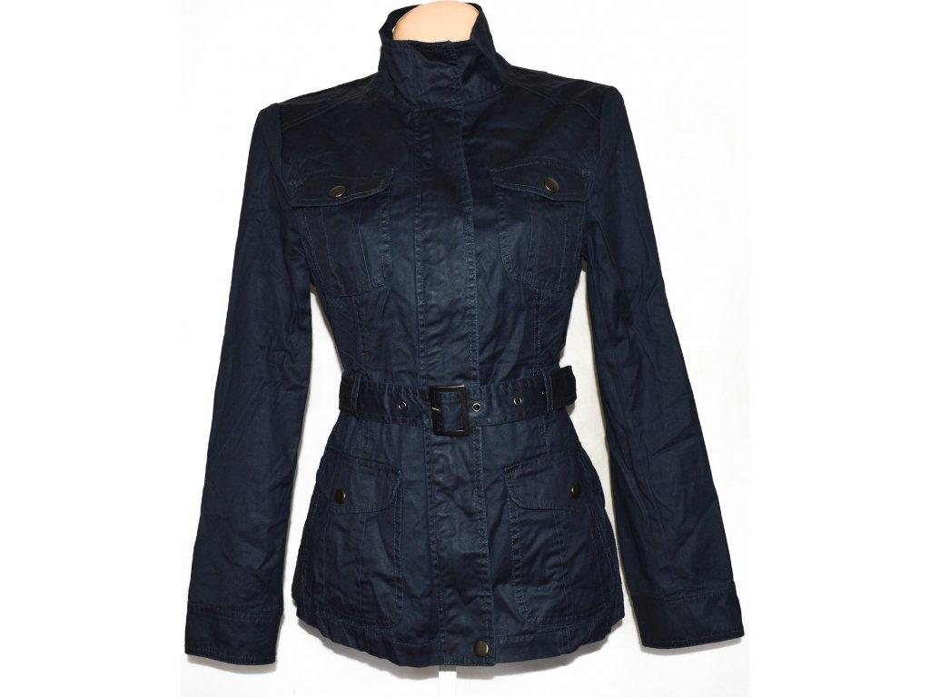 Bavlněný dámský modrý kabát na zip s páskem DENIM L