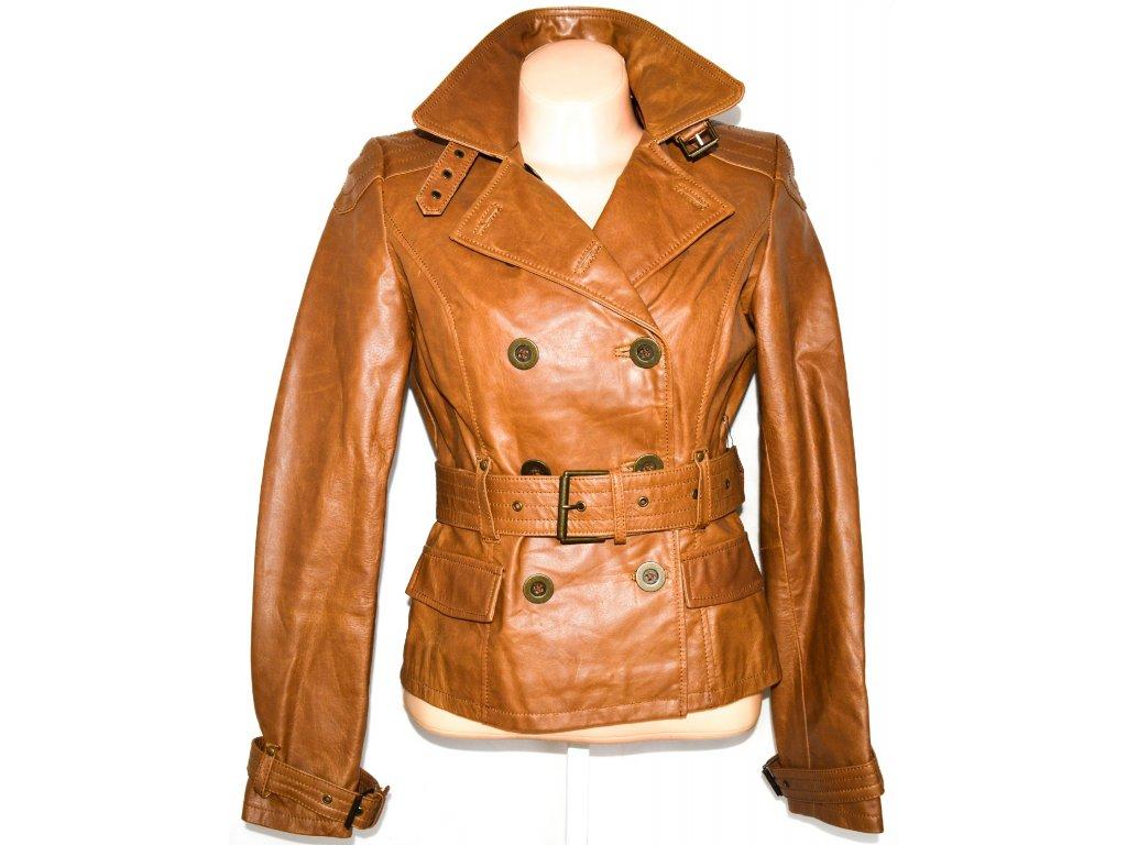 KOŽENÝ dámský hnědý kabátek s páskem JO THIRTY M