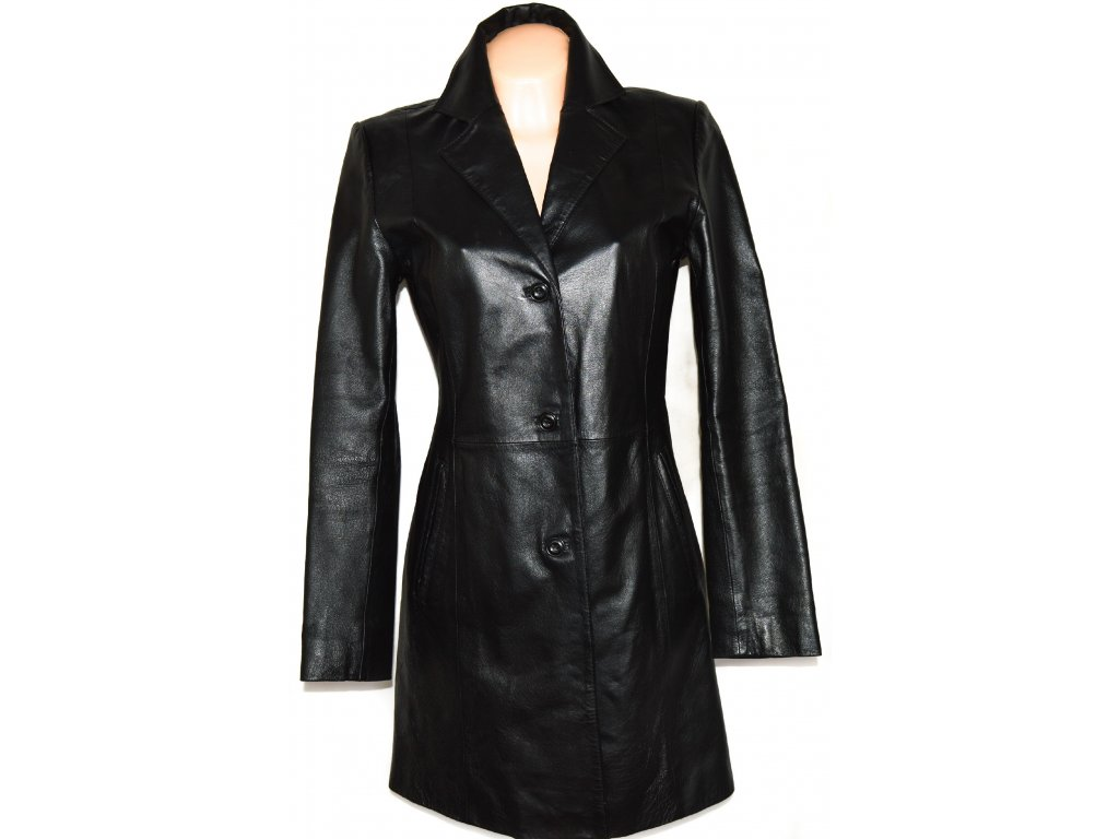 KOŽENÝ dámský černý kabát vel. M2