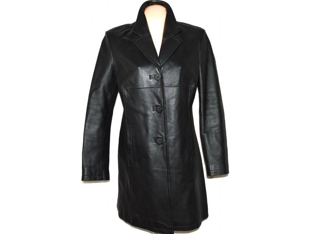 KOŽENÝ dámský černý kabát CERO