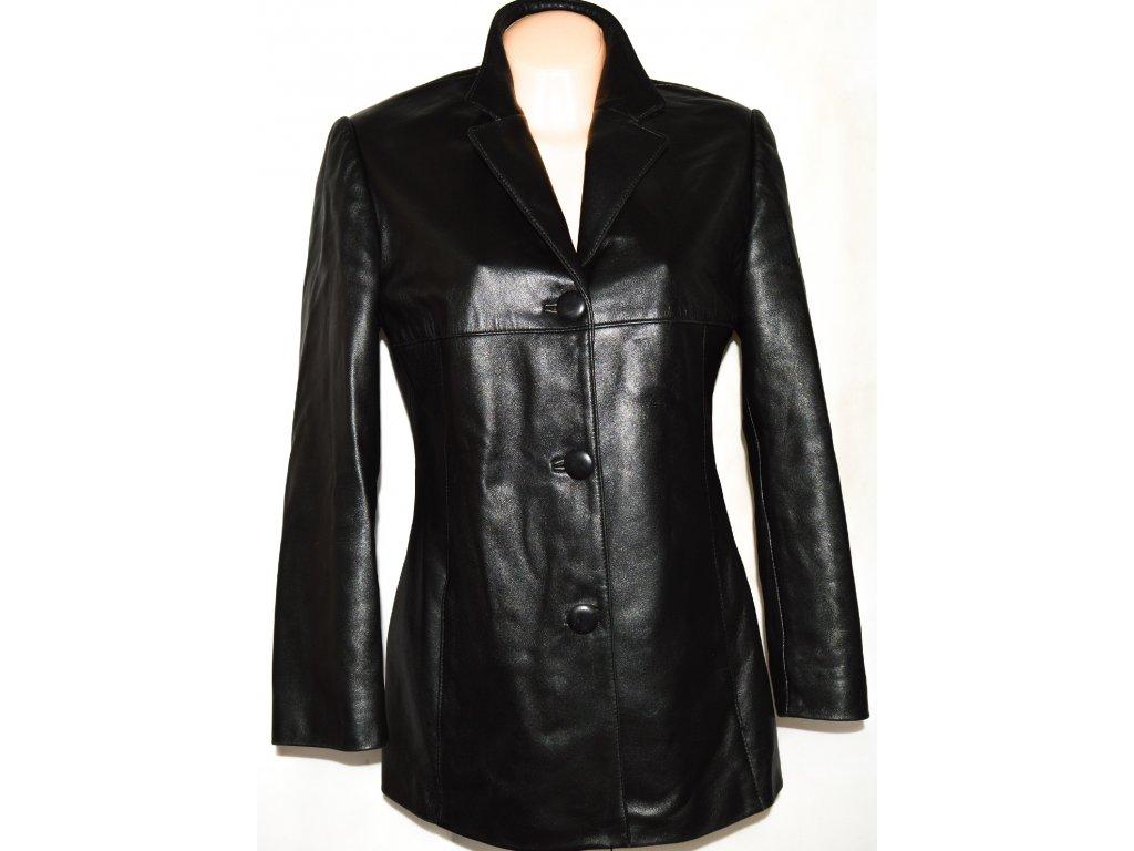 KOŽENÝ dámský měkký černý kabát KOŽEX L