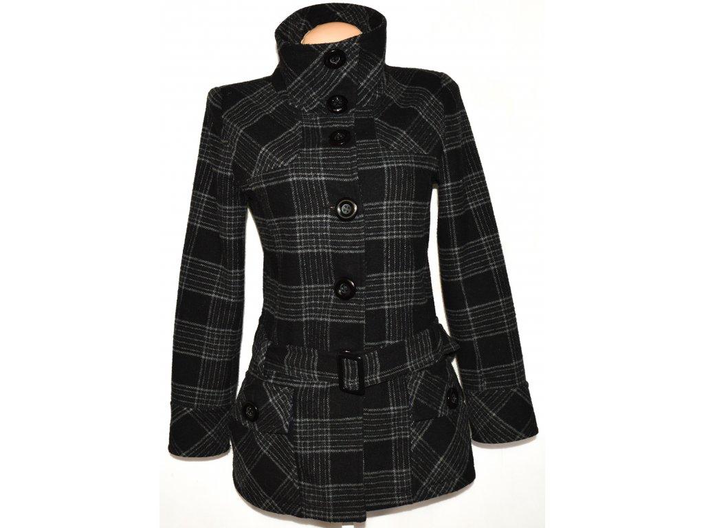 Vlněný dámský šedočerný kabát s páskem NEW LOOK 14/42