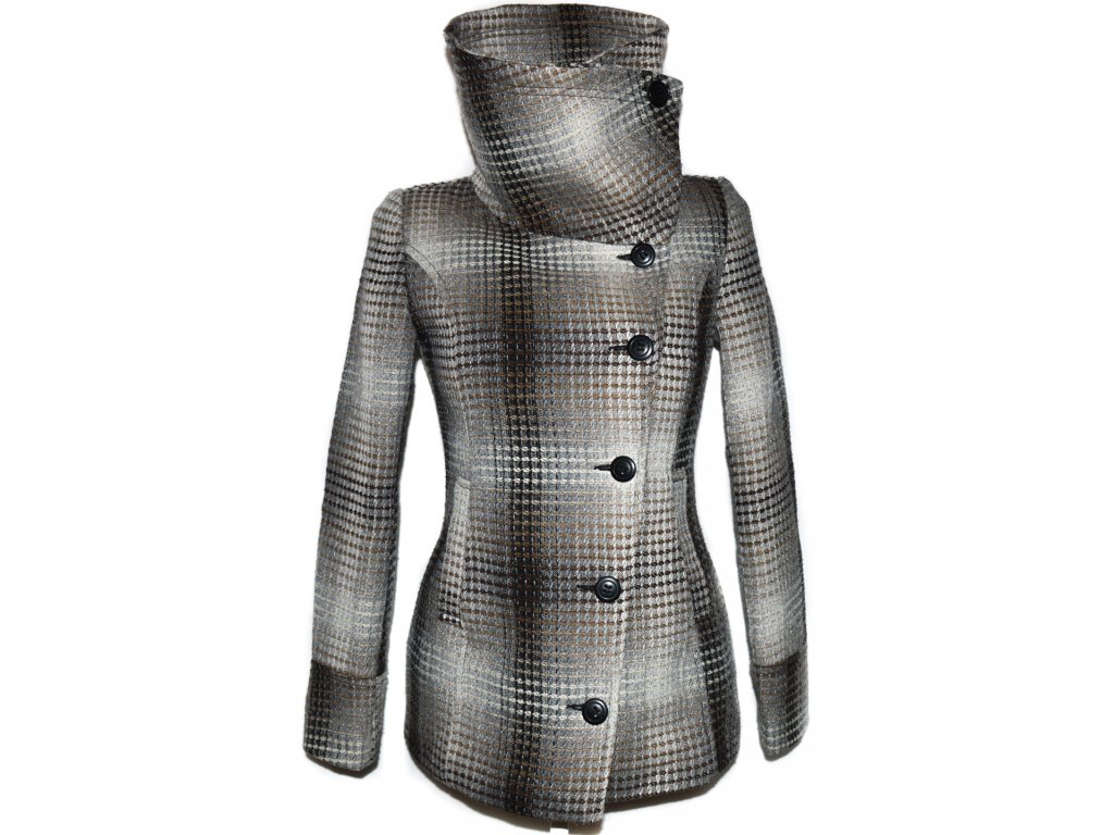 Dámský hnědý zateplený kabát Sublevel S