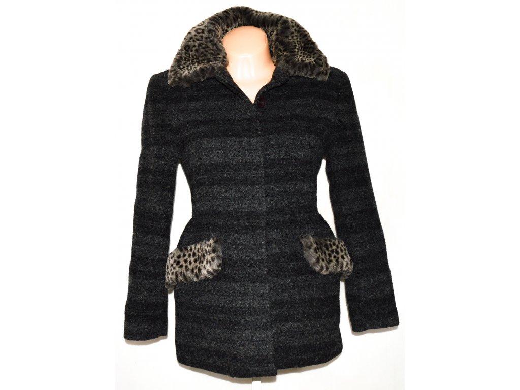 Vlněný dámský šedočerný kabát DANIEL ELISE PARIS S