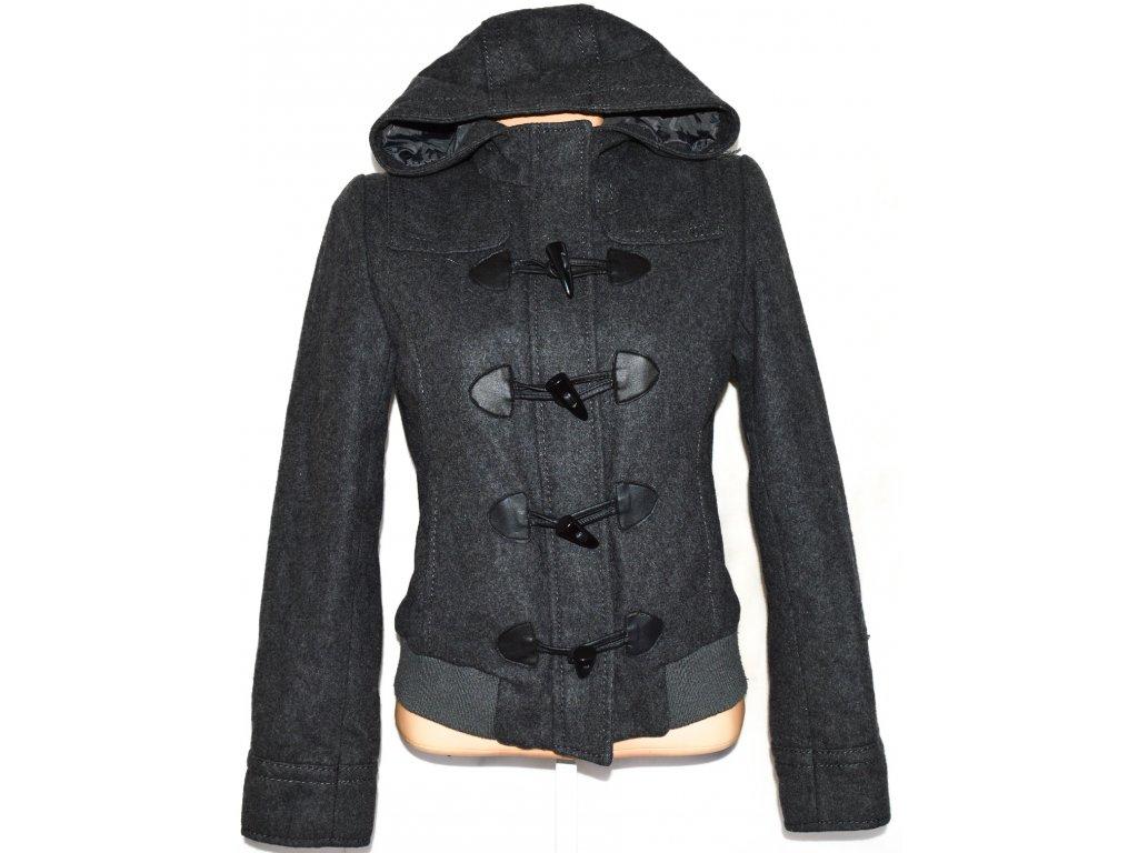 Vlněná dámská šedá bunda na zip, vidlice s kapucí L