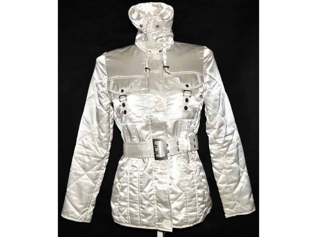 Dámský bílý šusťákový kabát na zip s páskem M
