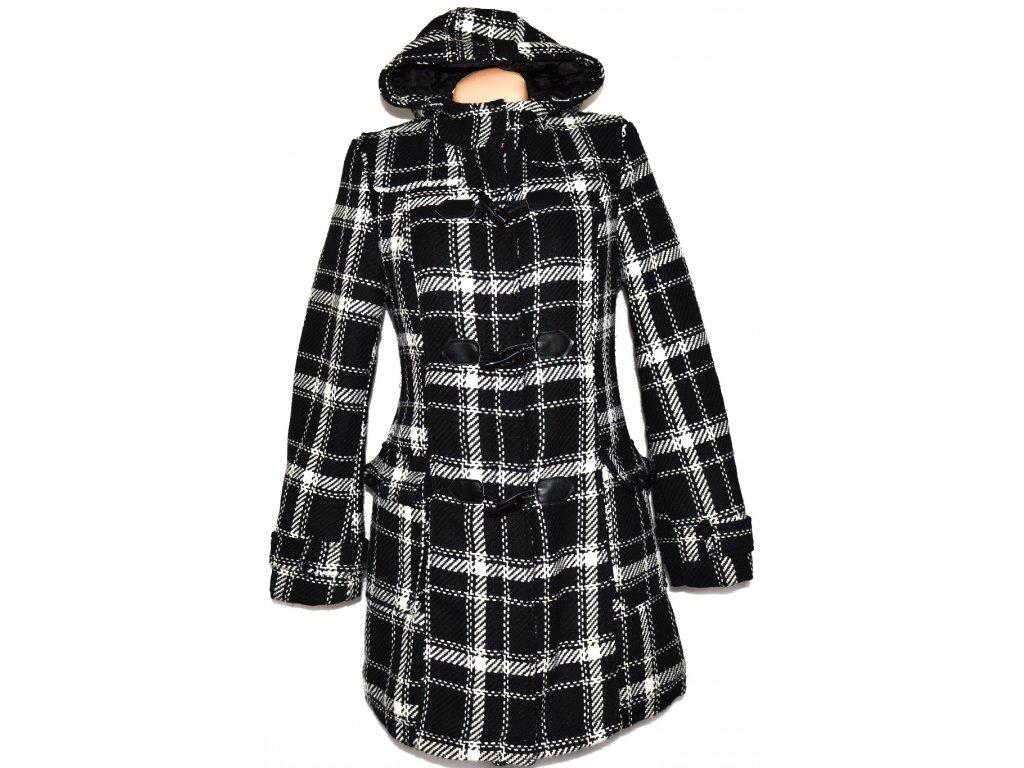 Dámský černobílý kabát na zip, vidlice s kapucí L
