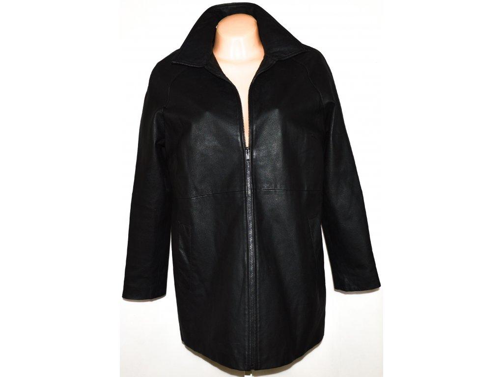 KOŽENÝ dámský měkký černý kabát na zip L/XL