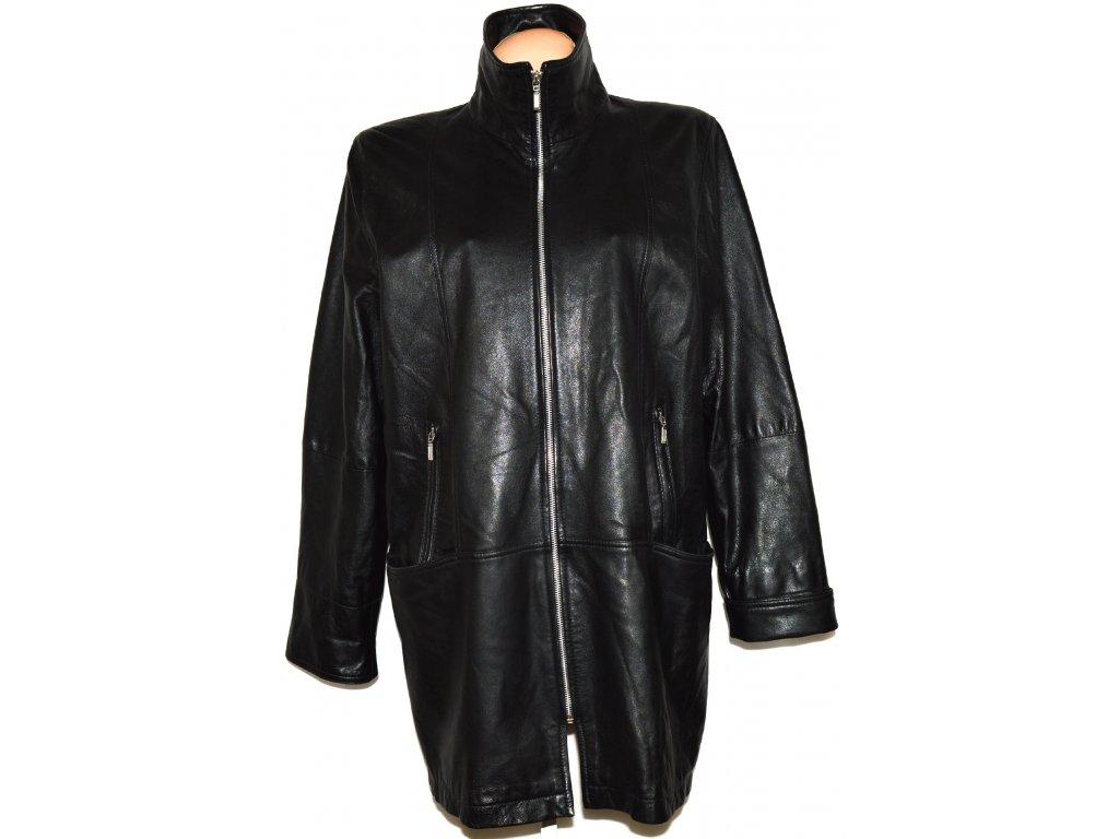KOŽENÝ dámský měkký černý kabát na zip MORENA XL