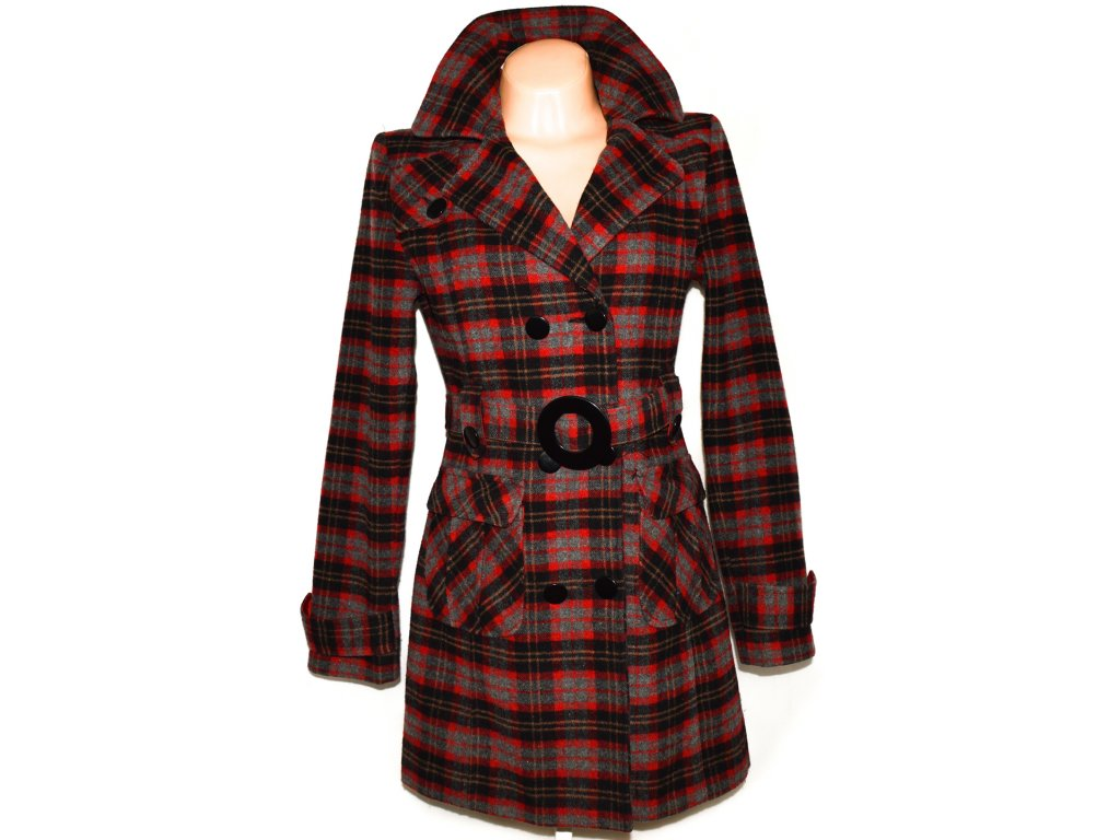 Vlněný dámský červený kabát s páskem