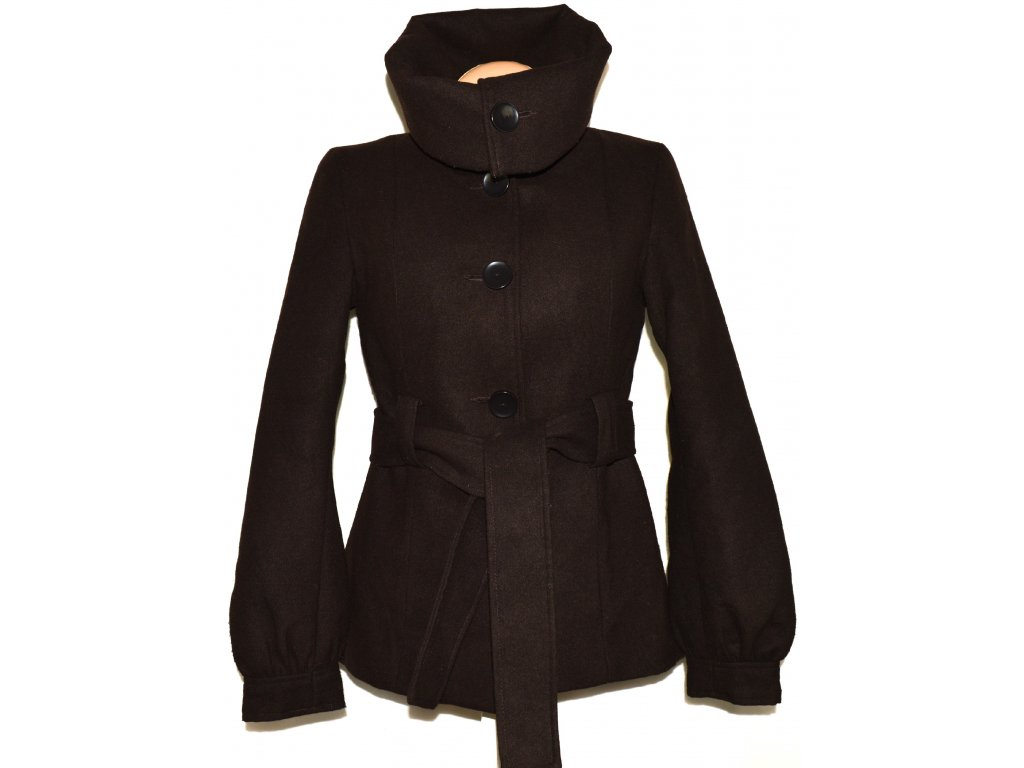 Dámský hnědý zateplený kabát s páskem CALLIOPE M