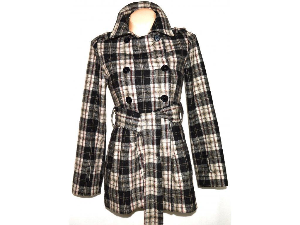 Bavlněný dámský károvaný kabát s páskem Miss Posh S