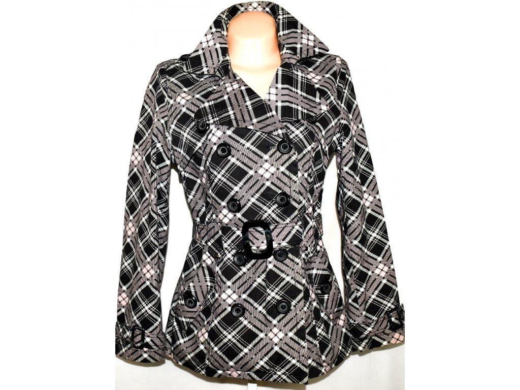 Bavlněný dámský károvaný kabát s páskem L