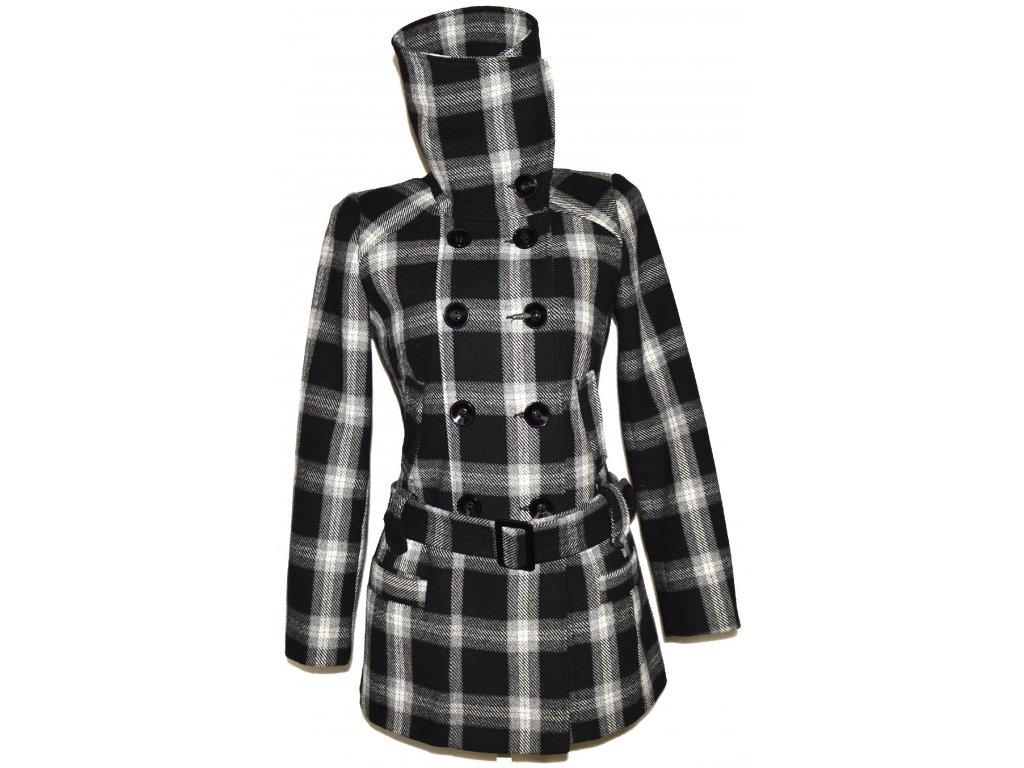 Dámský kostkovaný kabát s páskem, límcem F&F