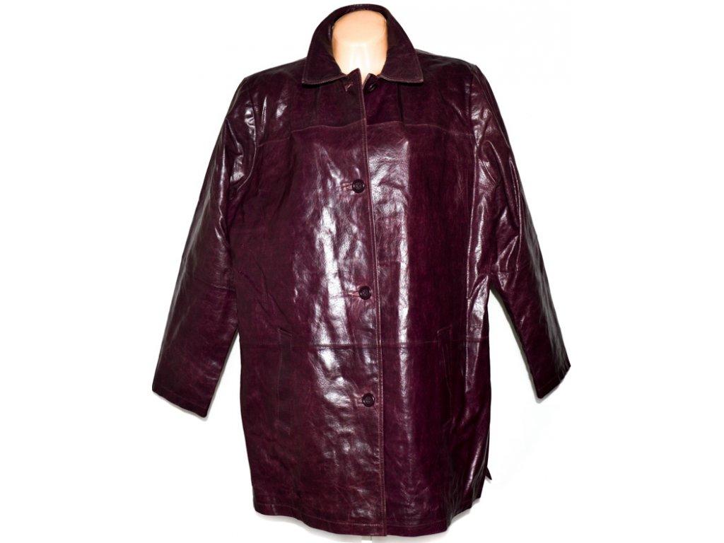VELKÝ KOŽENÝ dámský vínovo/fialový kabát XXXL