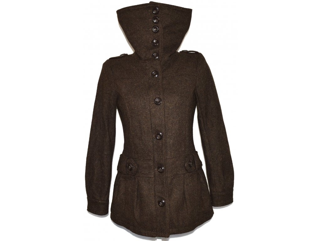 Vlněný dámský hnědý kabát na zip H&M S