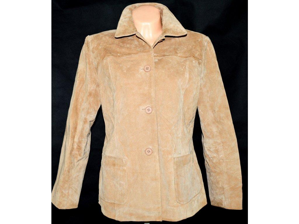 KOŽENÝ dámský broušený béžový kabát DPl L