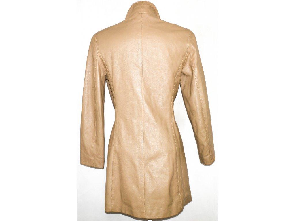 KOŽENÝ dámský měkký béžový kabát M - Coat-Master.cz 405a4e9910