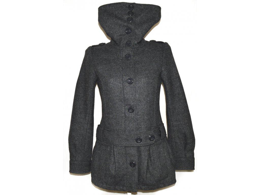 Vlněný dámský šedý kabát na zip s páskem H&M
