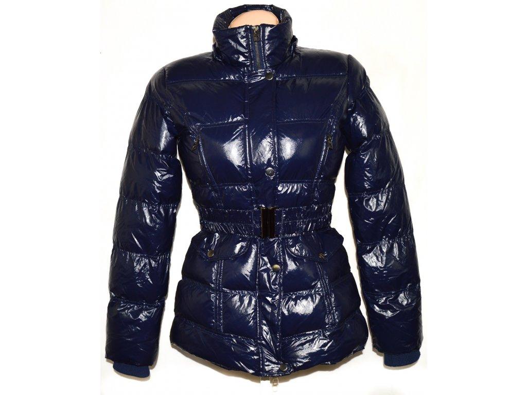Dámský modrý šusťákový kabát s páskem GATE M
