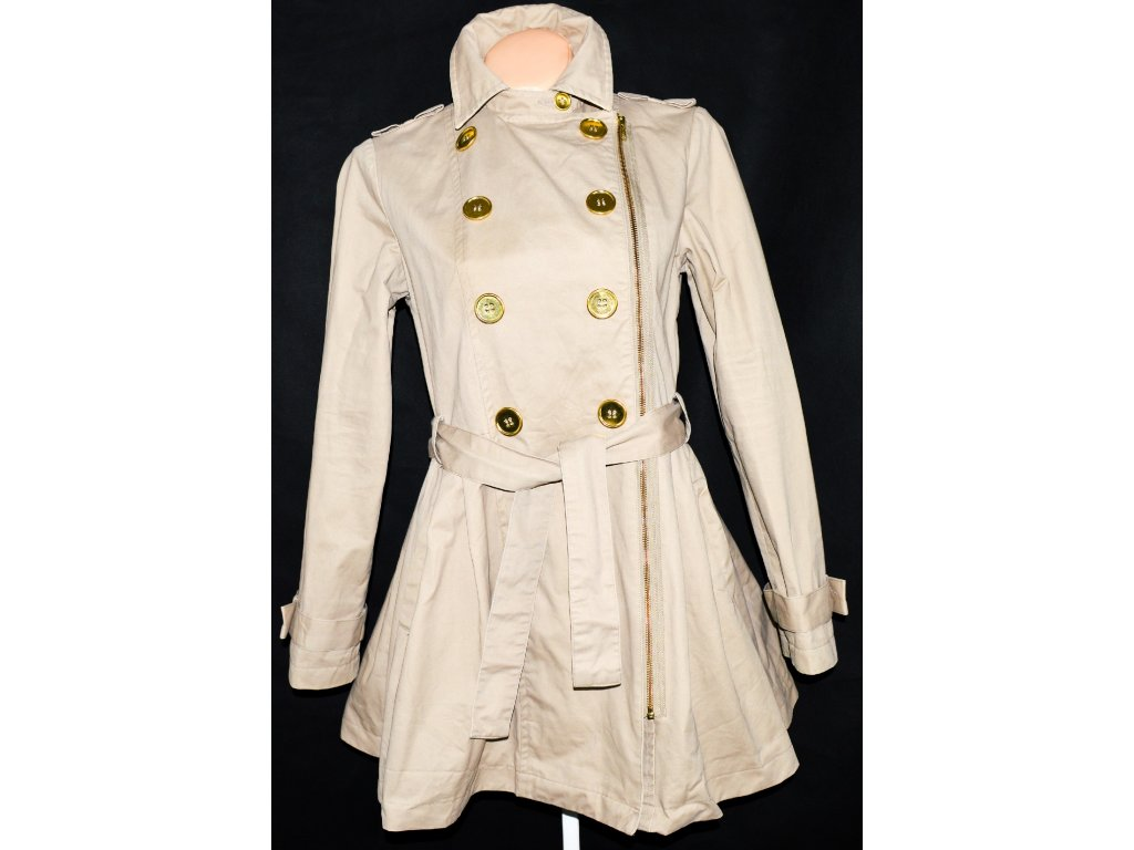 Bavlněný dámský béžový kabát na zip s páskem M