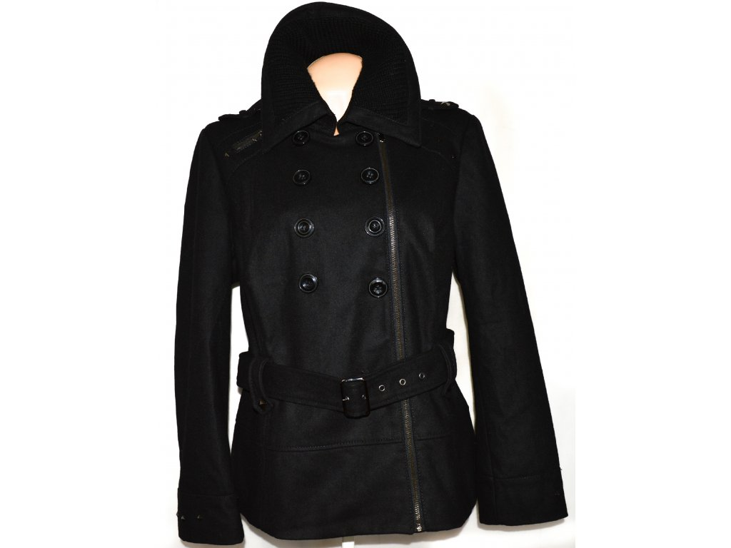 67191fa05e4 Vlněný dámský černý kabát   křivák s páskem C A XXL - Coat-Master.cz