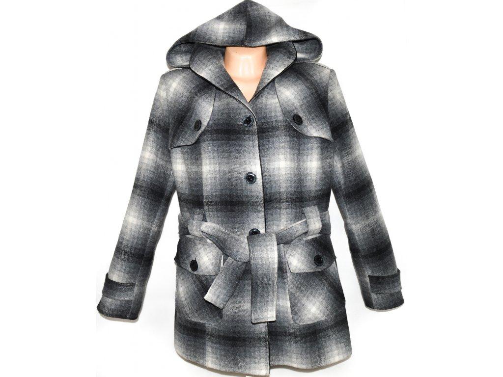 Vlněný (80%) dámský šedočerný zateplený kabát s páskem f876fe3cf7
