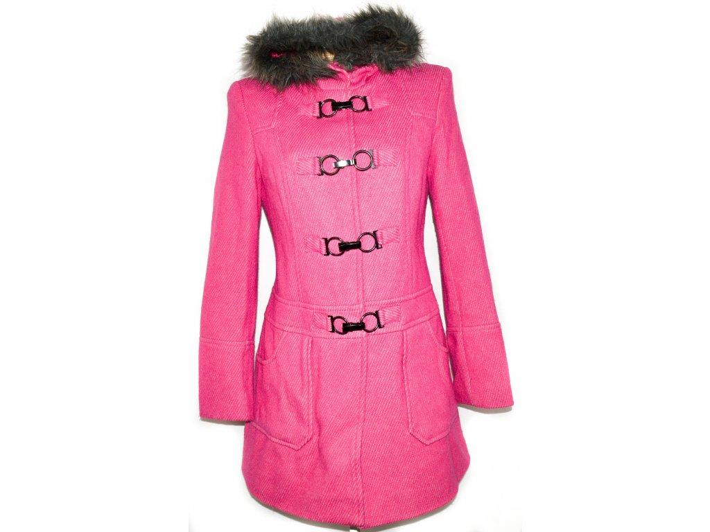 Vlněný dámský svítivě růžový kabát na cvoky cf9c8d79c64