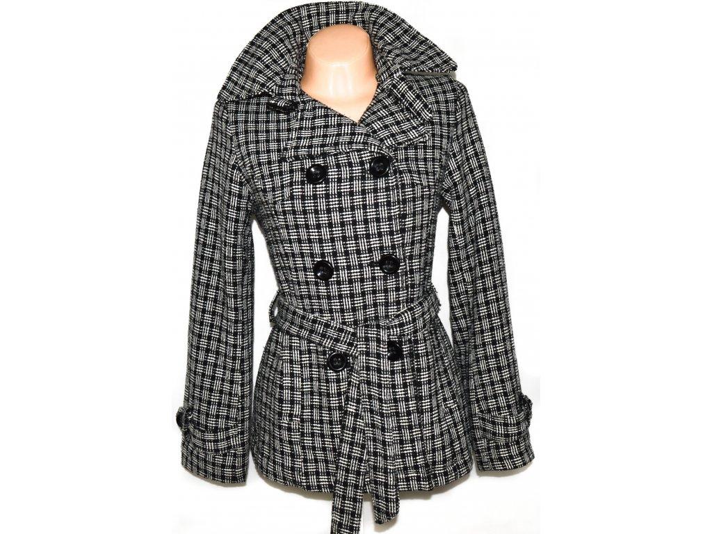 Dámský černobílý kabát s páskem L, XXL