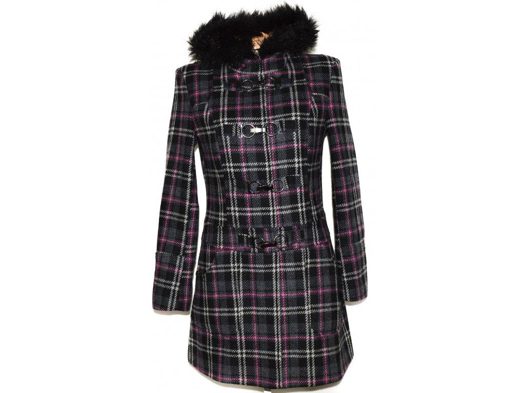 Vlněný (70%) dámský šedý kabát na karabinky, cvoky s kapucí M