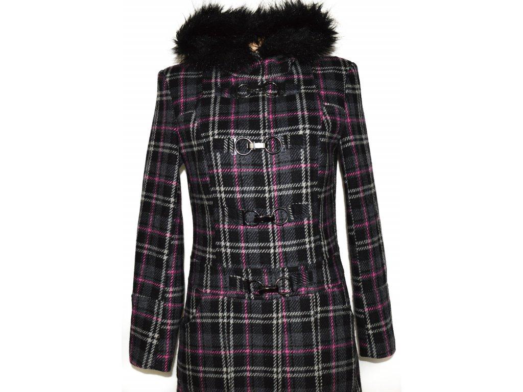 ... Vlněný dámský šedý kabát na karabinky 88b5794246d