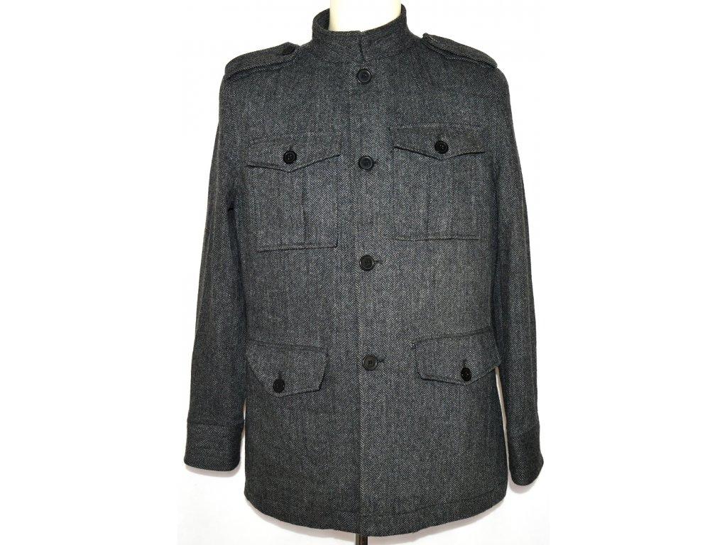 Vlněný pánský šedočerný kabát BURTON vel. M