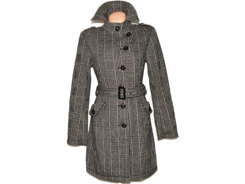 Vlněný dámský hnědočerný kabát s páskem AMISU XS, M, L
