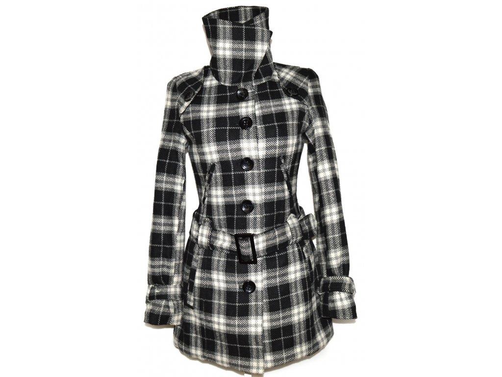 Dámský šedočerný zateplený károvaný kabát s páskem KENVELO