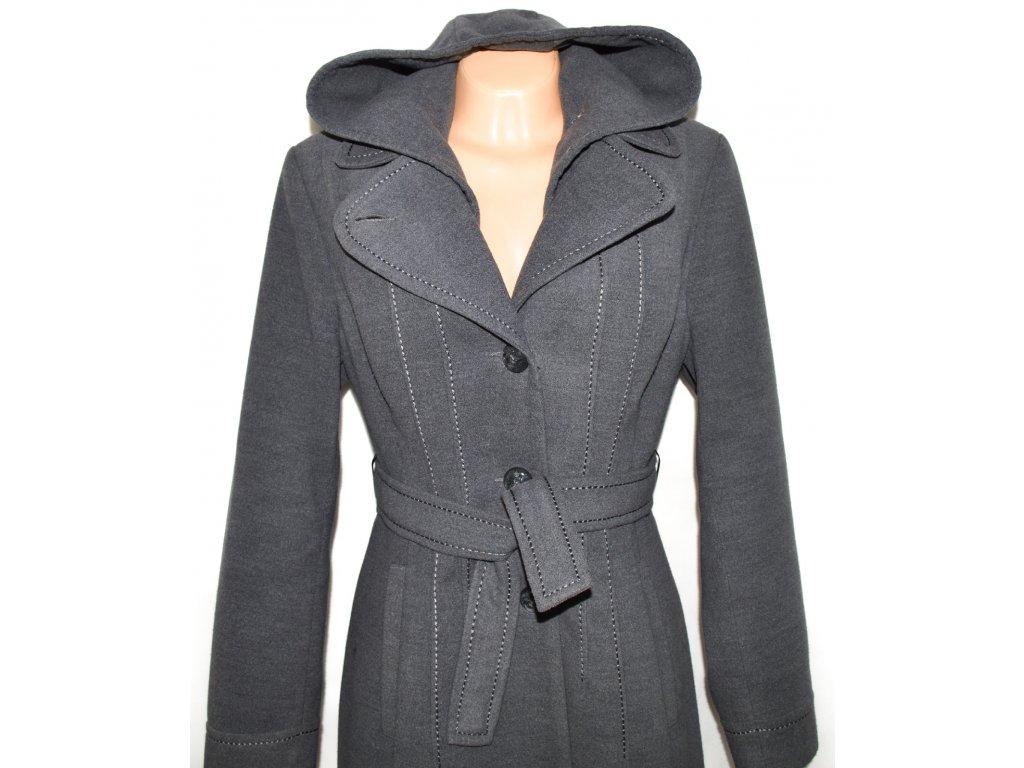 Vlněný dámský šedý kabát s páskem a kapucí Adrianno Damianii XL ... e6bef60fa84