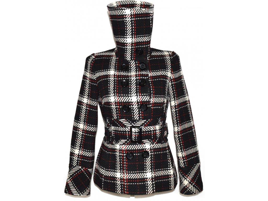 Vlněný dámský černobílý károvaný kabát s páskem F&F M