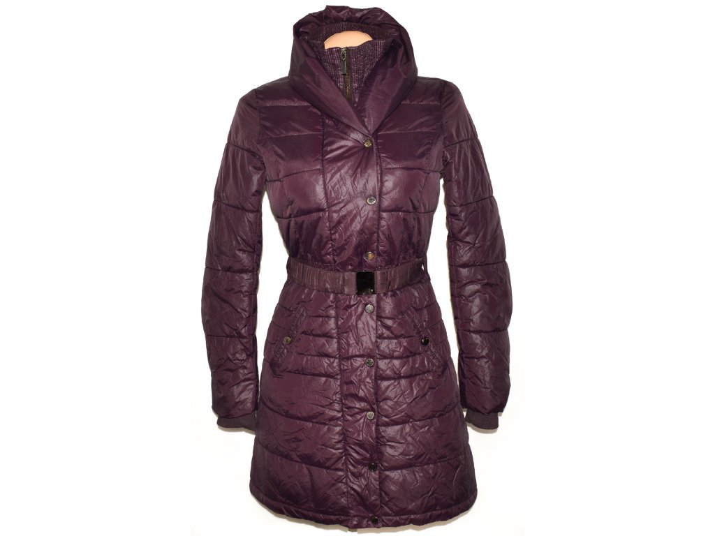 Dámský šusťákový fialový kabát s páskem a límcem Reserved 36 - Coat ... 9934865bd17