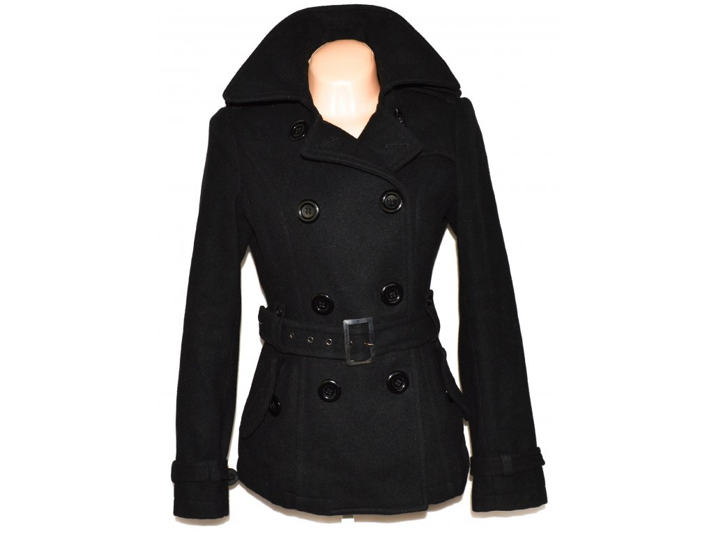 Vlněný dámský černý kabát s páskem CLOCKHOUSE L - Coat-Master.cz 2bda72edbf5
