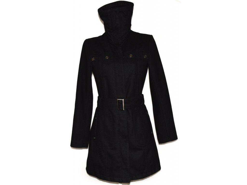 Vlněný dámský černý kabát na zip 7f65d985af