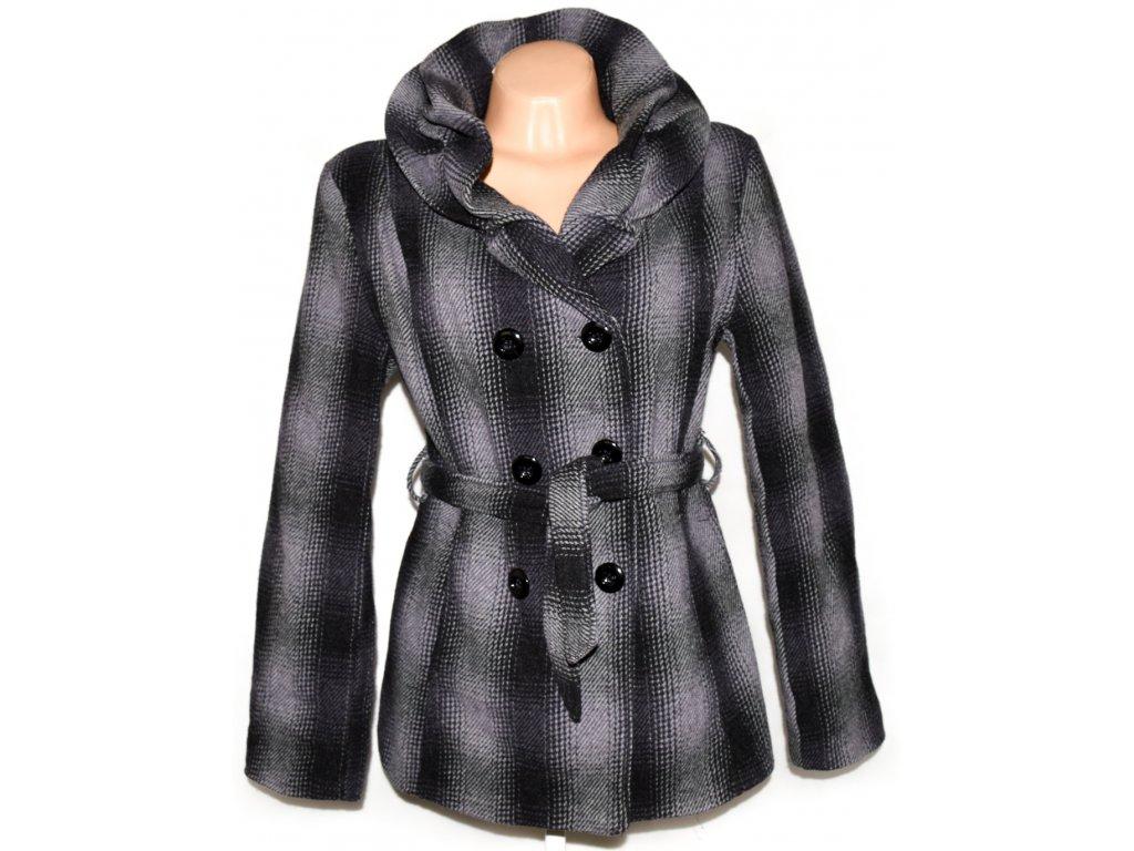 Vlněný dámský šedočerný kabát s páskem L